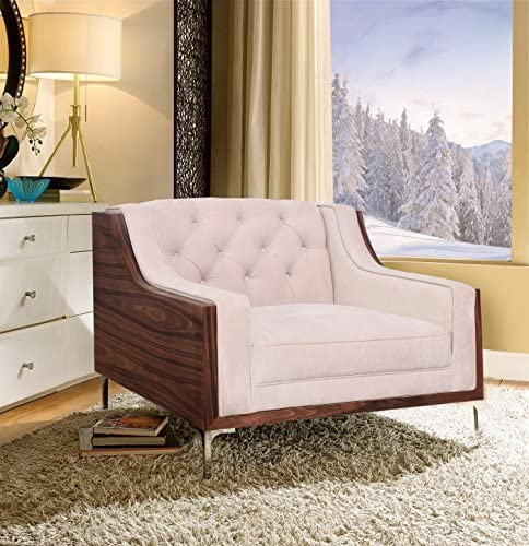 Iconic Home Clark Modern Contemporary Cream Velvet Tufted Swoop Arm Club Chair