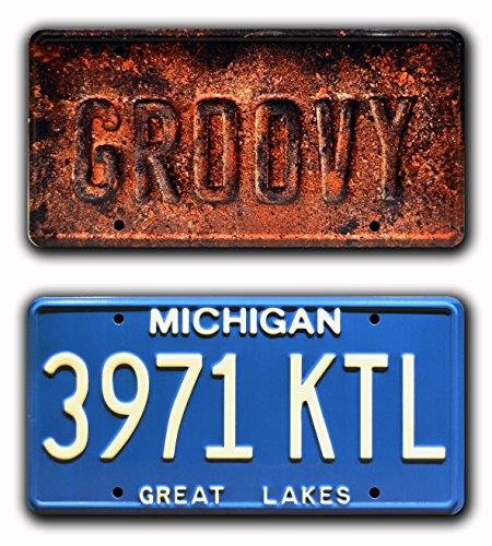 Celebrity Machines Ash vs Evil Dead | Ash William's Oldsmobile | GROOVY + 3971 KTL | Metal Stamped Vanity Prop License Plate Combo (Evil Machines)