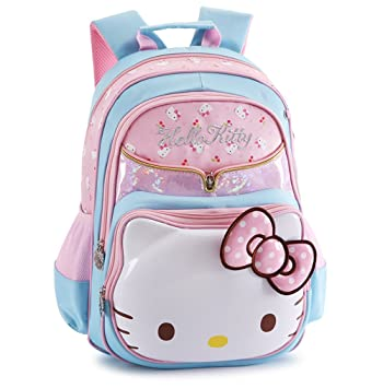 new authentic save up to 60% hot-selling professional YOURNELO Girl's Cartoon Lovely Hello Kitty Rucksack School Backpack Bookbag  (Big, Blue)