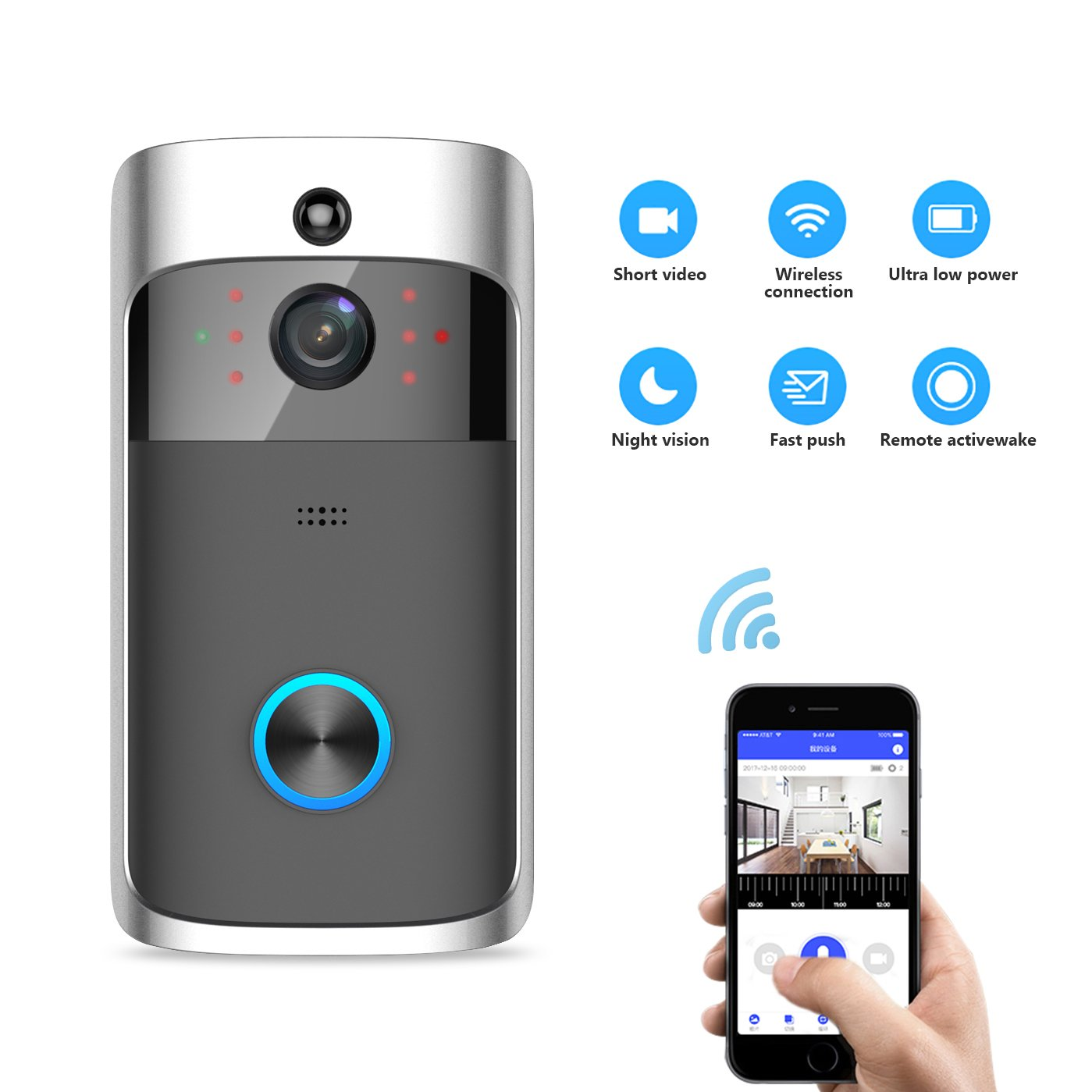【2018 YUZES WiFi Video Doorbell with Anti-Theft Truly Wire-Free Camera,Support Smartphone Remote Monitoring,Two-Way Talk and Video, Night Vision, PIR Motion Detection,APP Control