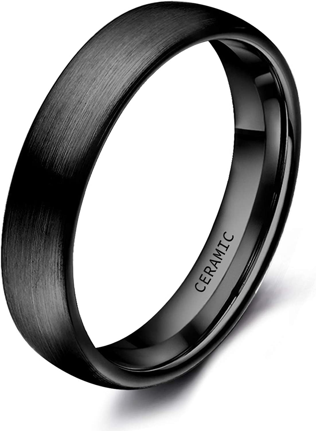 SOMEN TUNGSTEN 4mm 6mm 8mm Black Ceramic Rings Brushed Comfort Fit Engagement Wedding Band Size 4-13