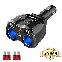 USB C Car Charger, 2 Sockets Cigarette Lighter Splitter 12/24V 80W Dual USB Type-C...