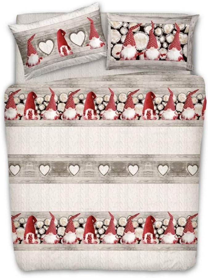 Matrimoniale Italysweethome Copripiumino 100 Cotone Gnomi Rosso Natale Pensieri Delicati Con Patella Tessili Per La Casa Casa E Cucina Mastica Pe