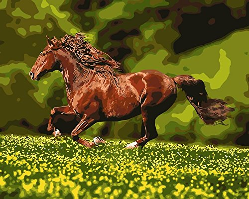 JynXos Wooden Framed Paint By Number Horses Linen Canvas DIY Painting - Running Brwon Horse