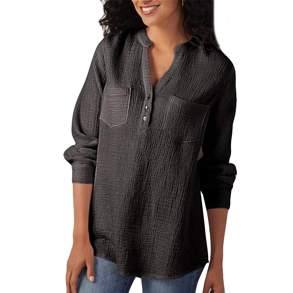 Aniywn Women V-Neck Cotton Long Sleeve Plus Size Tunic Tops Button Casual Blouse T Shirt with Pocket Black by Aniywn