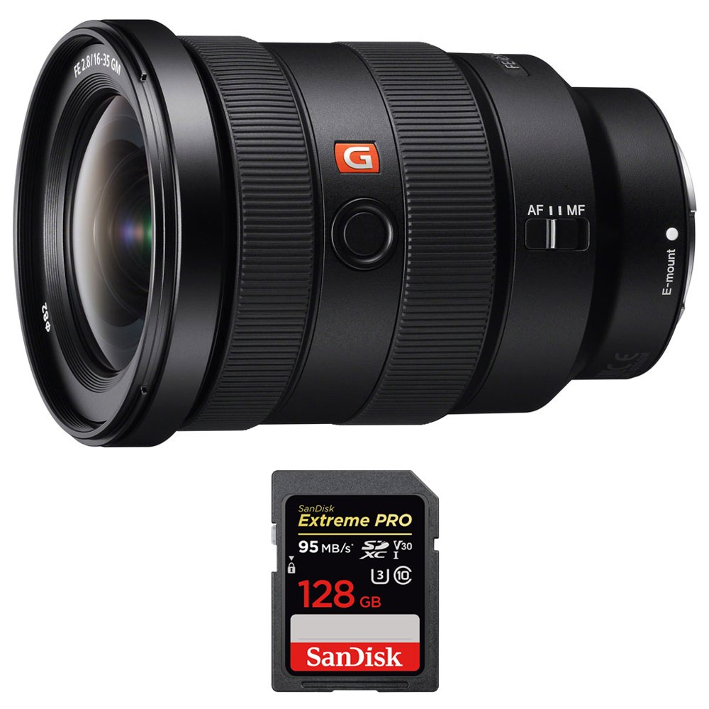 Sony (SEL1635GM) FE 16-35mm F2.8 GM Wide-angle Zoom Lens Full-Frame E-Mount Cameras w/ Sandisk Extreme PRO SDXC 128GB UHS-1 Memory Card by Beach Camera