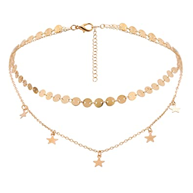 403e9a1d1c9c28 BaubleStar Layers Disc Chain Star Moon Charm Tassel Pendant Layering Choker  Necklace for Women Girls Golden