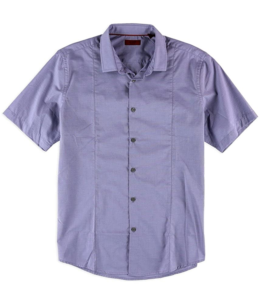 Alfani Mens Textured Slim Ss Button Up Shirt