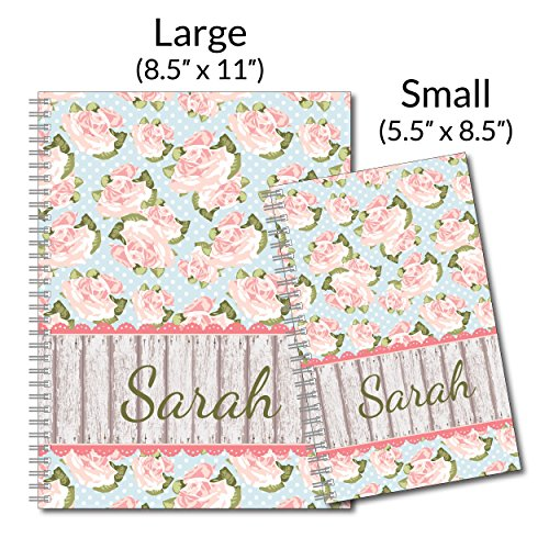 Country Garden Vintage Personalized Floral Notebook/Journal, 120 Wide Ruled or Checklist Pages, durable laminated cover, and wire-o spiral. 8.5x11 | 5.5x8.5 | Made in the USA Photo #4