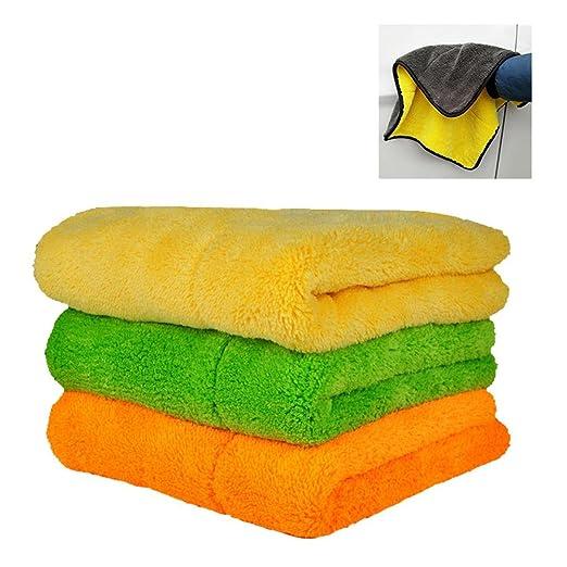 limpieza coche,Pawaca Toallas de limpieza para coche ultra gruesas de felpa de microfibra para limpiar el coche, toallas de secado superabsorbentes: ...