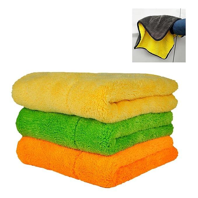 AOLVO - Juego de toallas de microfibra ultra gruesas para limpiar el coche, para pulir y secar, muy absorbente, toalla de detalles automáticos con dos ...