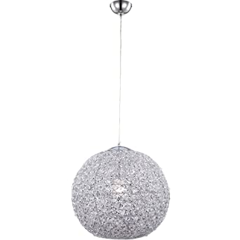 Chrome Aluminium Plafond Boule Treillis Suspension Luminaire P8wOkn0