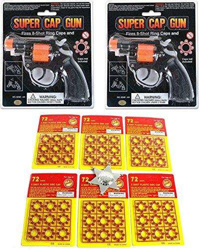2 Shot Pistol (Toy Cap Gun: Set Of 2 Police Style 38 Super Cap 8-Shot Revolvers Bundle 8-shot Plastic Ring Capsules 6 Sheet 432 Unit Shot Included Deputy Sheriffs Badges)
