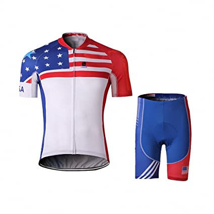 Image Unavailable. Image not available for. Color  Men s American Flag  Printing Short Sleeve Breathable Cycling Jersey and 3D Silicone Padded  Shorts ... 5281aedb7