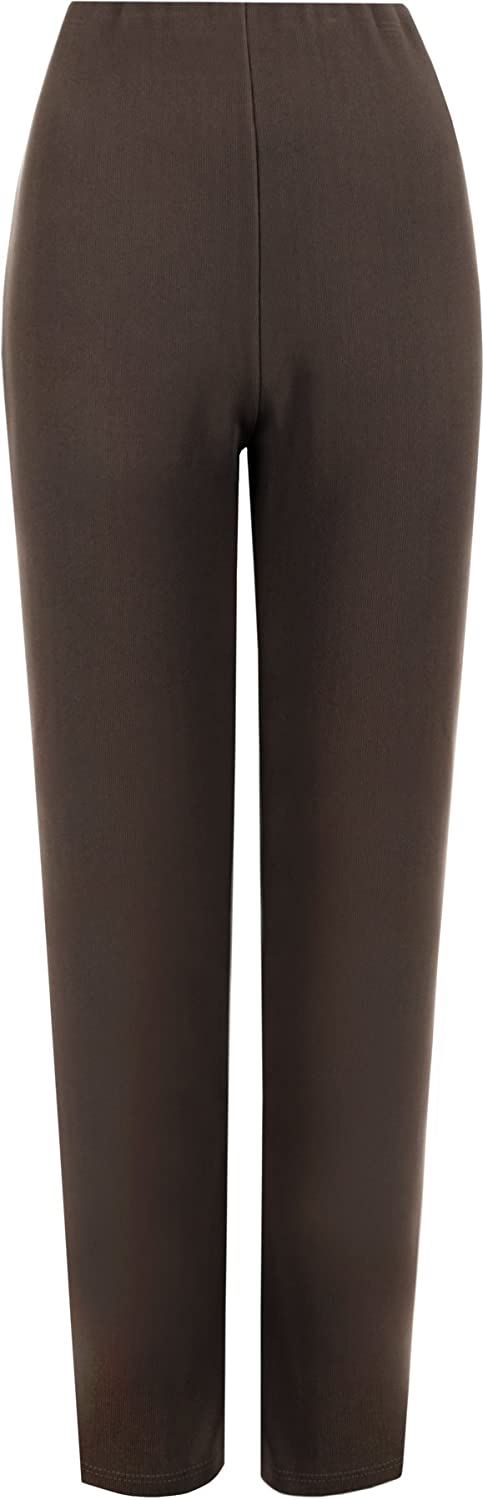 WearAll Womens Plus Size Stretch Ribbed Trousers Straight Leg Pants 31661