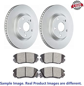 Anti Rust Coated Rear Disc Brake Rotors and Ceramic Brake Pads for 2012 Chevrolet Equinox - With Two Years Manufacturer Warranty Brake Pads Include Hardware Inroble