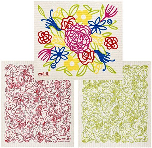 Swedish Dishcloth Cleaning Home Kitchen Bathroom Windows Multi Flower Bouquet, Red/Green Paisley (Set of 3)