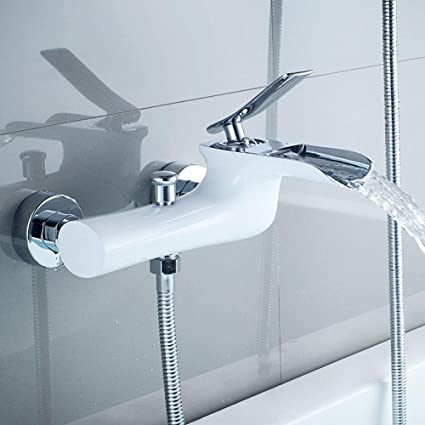 Chrome Wall Mounted Hot//Cold Water Dual Spout Mixer Tap Faucet Bath