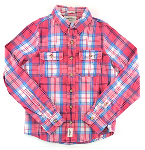 Abercrombie & Fitch Mens Flannel Long Sleeve Shirt Light Red Blue White 0930 - Fitch Moose
