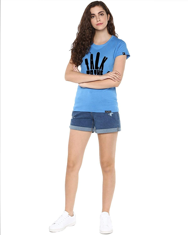 Indian Handicrafts Export Womens Half Sleeve Talk Printed Blue Color Tshirts