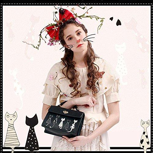 Yoome gatti carino borse a mano in ricamo borse da trucco borse nuove borse a freddo per ragazze - Nero