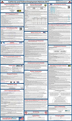 "2017 California State and Federal Labor Law Posters - Laminated 24"" x 40"""