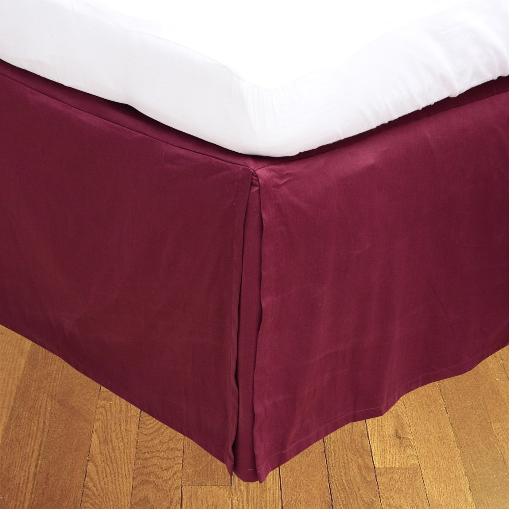 Relaxare Queen XL 300TC 100% Egyptian Cotton Wine Solid 1PCs Box Pleated Bedskirt Solid (Drop Length: 25 inches) - Ultra Soft Breathable Premium Fabric