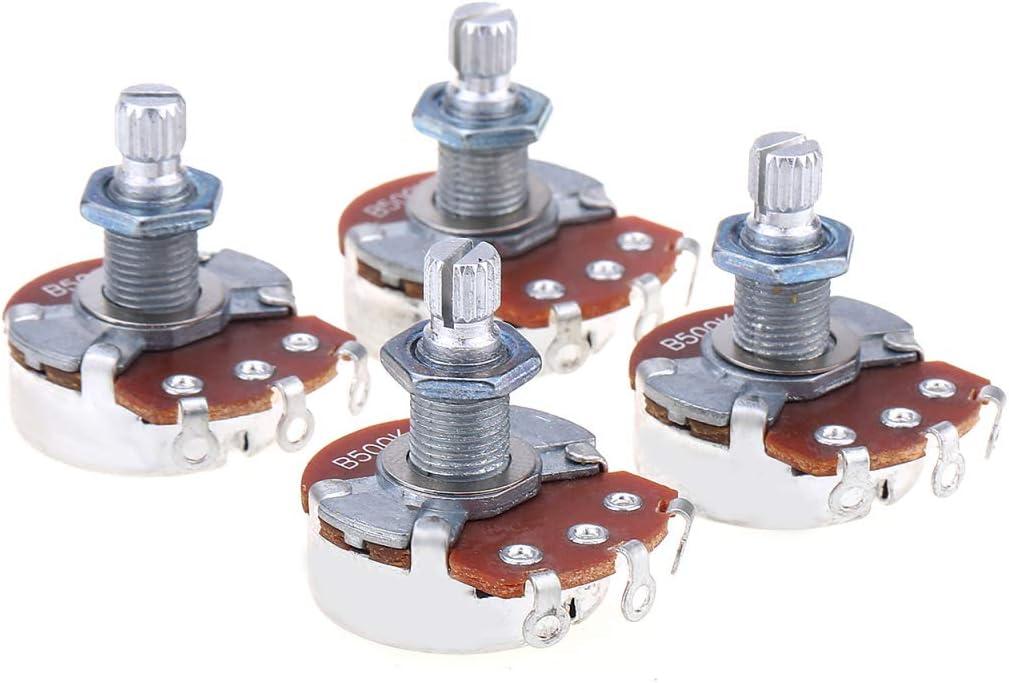 Alpha Full Tamaño Métrico Split Shaft Control Pots B500K Linear Taper Potenciómetros para Guitarra (Set de 4)