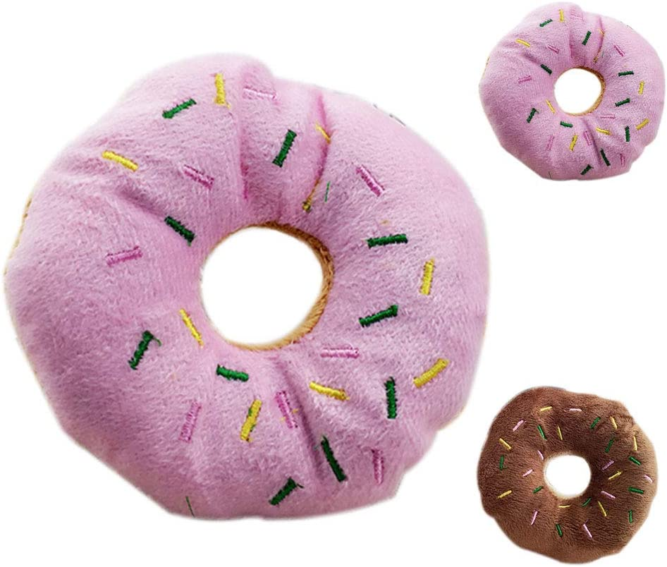 Stevlogs Pet Donut Shape Plush Play Toys Shape Squeaky pet Pet Chew Squeaky Toy Dog Cat Sound Playing Tool