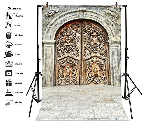 Leyiyi 6x9ft Photography Background Vintage Catholic Door Happy Halloween Party Backdrop Mediaeval Stone Architecture Rock Music Carnial Banquet Castle Gate Photo Portrait Vinyl Studio Video Prop
