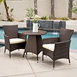 Outdoor Modern Contemporary Brown Patio Balcony Durable Comfortable Metal and Resin Wicker 3 Piece Bistro Conversation Set Seating - One Coffee Table, Two Arms Chairs