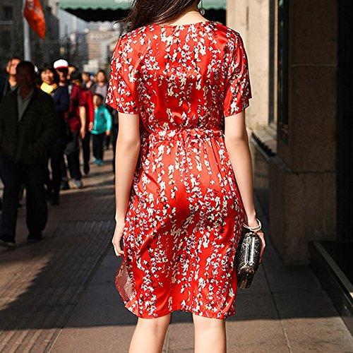 Long Übergröße DISSA Damen Abendkleid Kleider Cocktail Knee Rot S9983 Kleid Seide Gestreift qwTwIB7