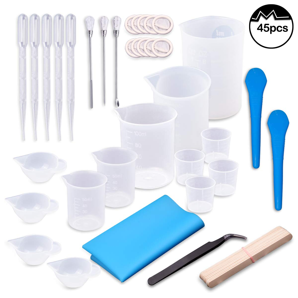 Moi Doi 45PCS Resin Mixing Cups Tools Kit, Graduated Plastic Silicone Measuring Cups, with Pipettes Mixing Stir Sticks Finger Cots Tweezer Silicone Mat for DIY Resin Casting Painting Jewelry Making by Moi Doi