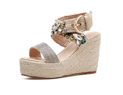 bfd44f1b380fa Women Pump 10.5cm Wedge Heel Open Toe Ankle Strap Sandals Roma Shoes Sweet  D