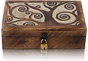 Great Birthday Gift Handmade Decorative Wooden Jewelry Box With Tree Of Life Carving & Lock & Key Jewelry Organizer Keepsake Box Treasure Chest Trinket Holder Watch Box Storage Lock Box 8 x 5 Inches