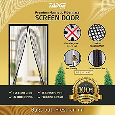 """Magnetic Mesh Bug Screen Door - Strong Magnets, Fiberglass Mesh - Full Frame Curtain Magnets with Self-Seal Easy Open and Close Design   Anti Bug & Insect   Pet Friendly - 36x83"""" Max"""