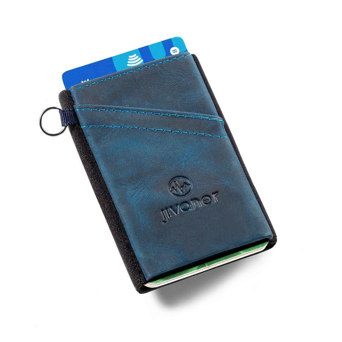 2d9699ada0a JIVANER Ultra Slim  Cartera Hombre de Piel Azul - Cartera Minimalista -  Tarjetero RFID Bloqueo - Billetera Monedero pequeña y Delgada - Mini  portamonedas de ...