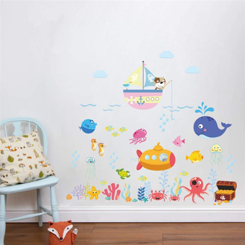 Amazon.com: Bdhnmx Underwater Fish Bubble Wall Stickers for Kids Rooms Bathroom Bedroom Home Decor Cartoon Animals Wall Decals DIY Mural Art: Baby