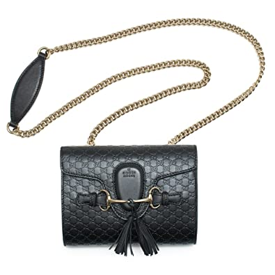ffc1c9e66d2 Amazon.com  Gucci Emily Guccissima Mini Shoulder Bag Black Leather ...