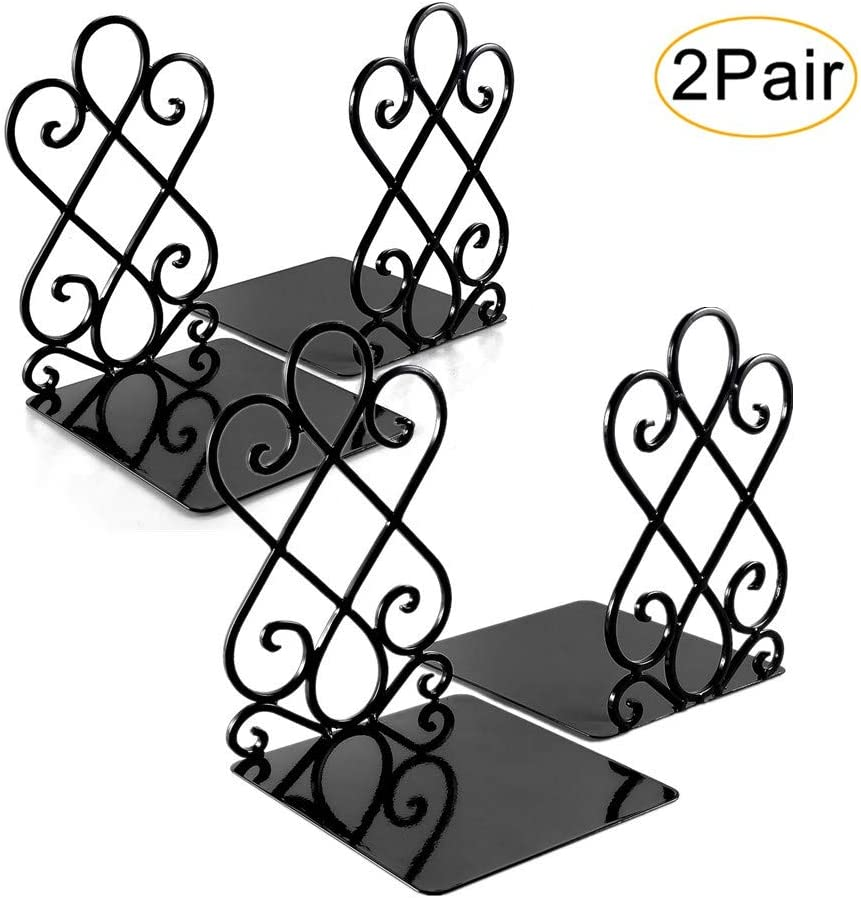 Metal Book Ends for Shelves Heavy Duty Decorative Book Support Non-Skid for Office Desk School Library Organizer Gift Bookends 7 x 6.1 x 8.6 inch Black 2 Pairs