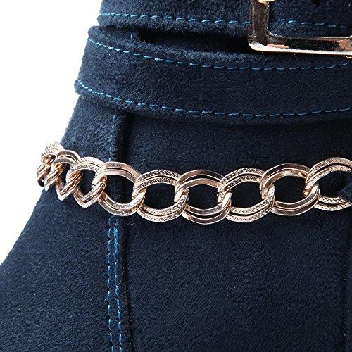 Allhqfashion Womens Low-top Solido Pull-on Tacco Chiuso Stivali Tacchi Alti Blu