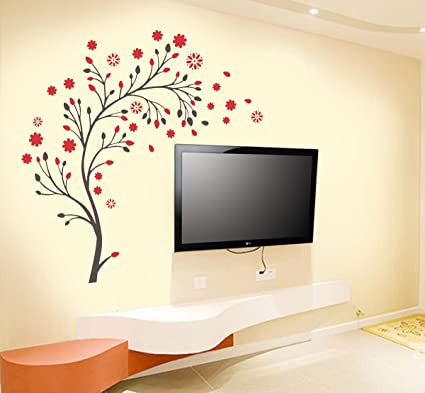 New Way Decals Wall Sticker For Living Room   Flowers Sticker For Home Décor