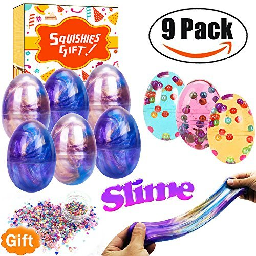 Easter Basket Stuffers 9 Giant Slime Eggs, Total 21 OZ Galaxy Slime Kit, Unicorn Rainbow Colors Easter Eggs Slime Glitter Putty for Easter Decorations Parties, Perfect Easter Gifts for Toddlers Kids by Qiwoo (Image #1)