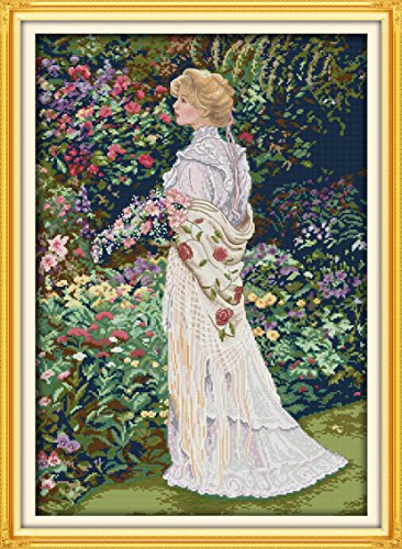 "ITSTITCH Needlecrafts Counted Cross Stitch Kits 14Count, Embroidery Kits, Cross Stitch Pattern For Elegant Women ""17.3 x 23.6""inch, Floral Aromas (Counted Cross Stitch Woman)"