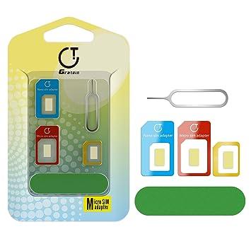 Adaptador de tarjeta SIM, Gratein 2-Pack Preciso 5 en1 Adaptador Convertidor de tarjeta Nano Sim a Micro Estándar con Sander bar y la bandeja abierta ...