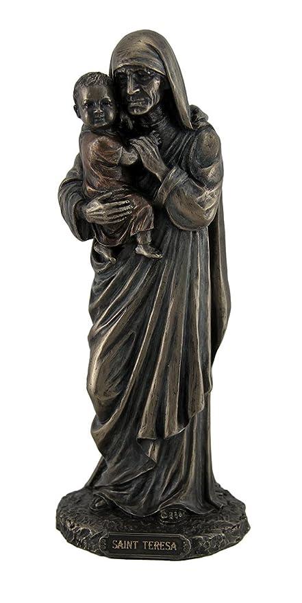 Resina estatuas Santa Teresa de Calcuta de pie con Niño Estatua 9 Inch 3,25