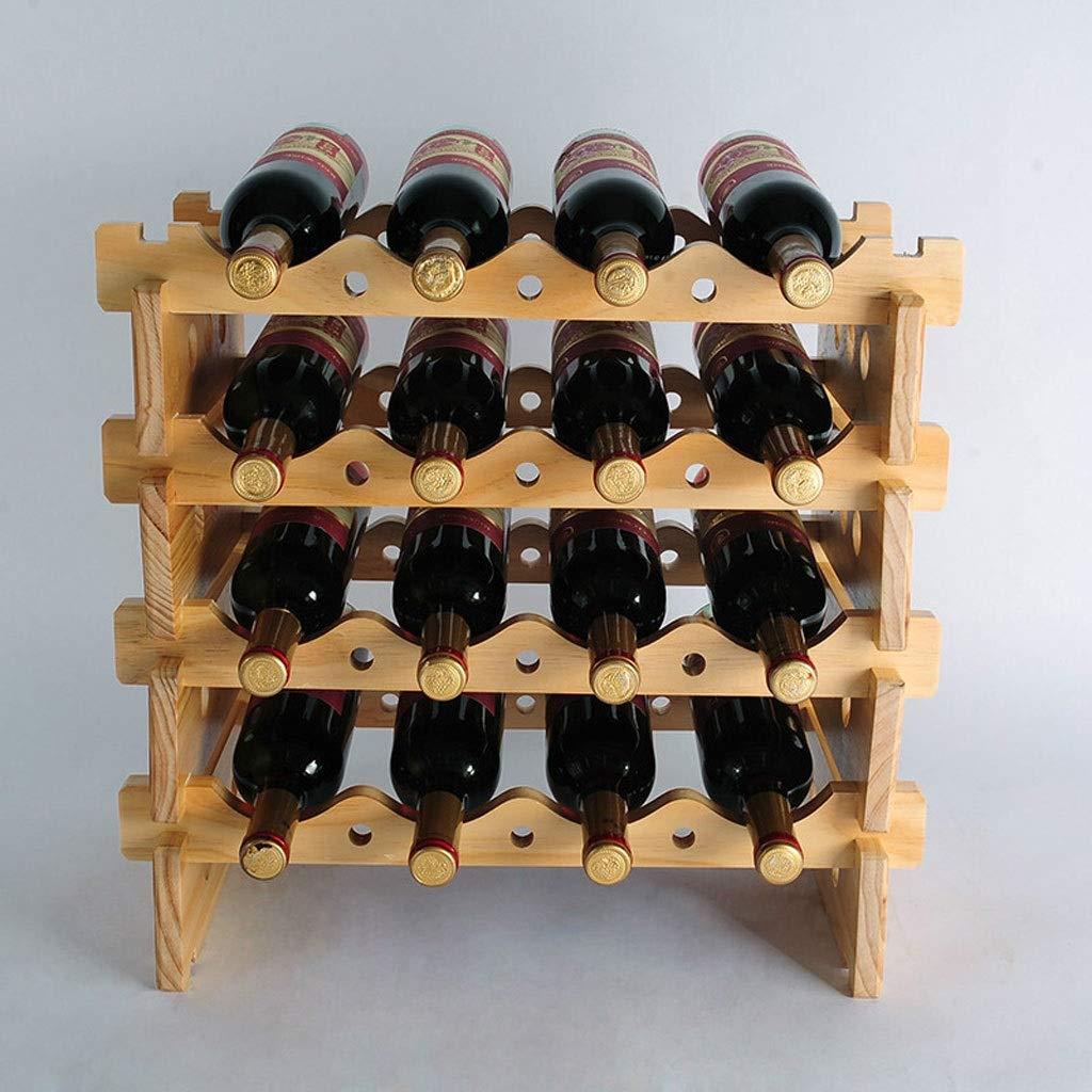 FJZ Wine Rack HX Wine Rack European Creative Wine Rack Display Rack Wine Rack Solid Wood Bottle Rack Stacking Shelf Multi-Function Wine Rack (Size : 49.7CM) by FJZ