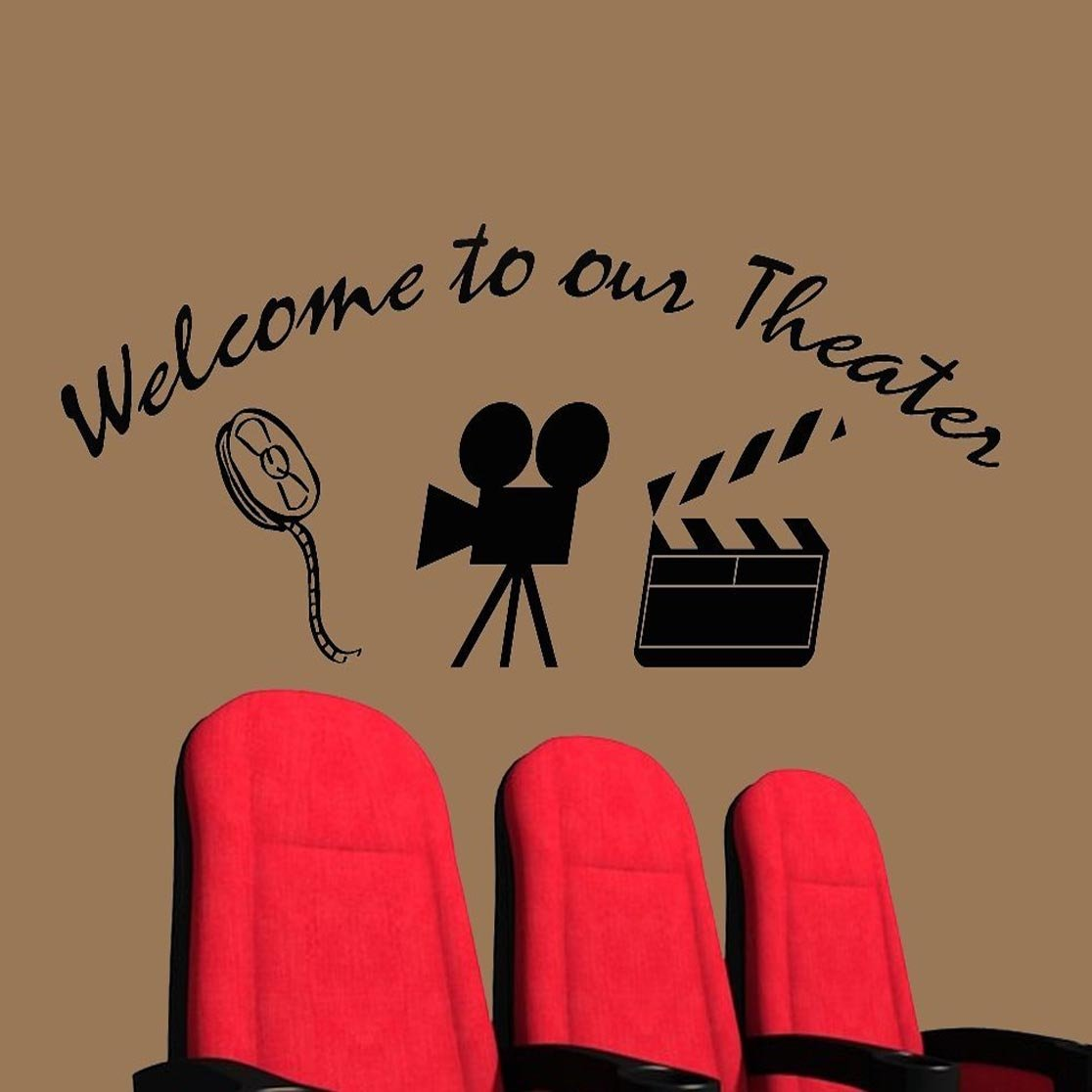 home movie theater decor wall decal welcome to our theater wall home movie theater decor wall decal welcome to our theater wall art wall decor stickers amazon com
