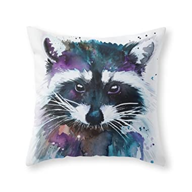 Society6 Raccoon Throw Pillow Indoor Cover (18  x 18 ) with pillow insert