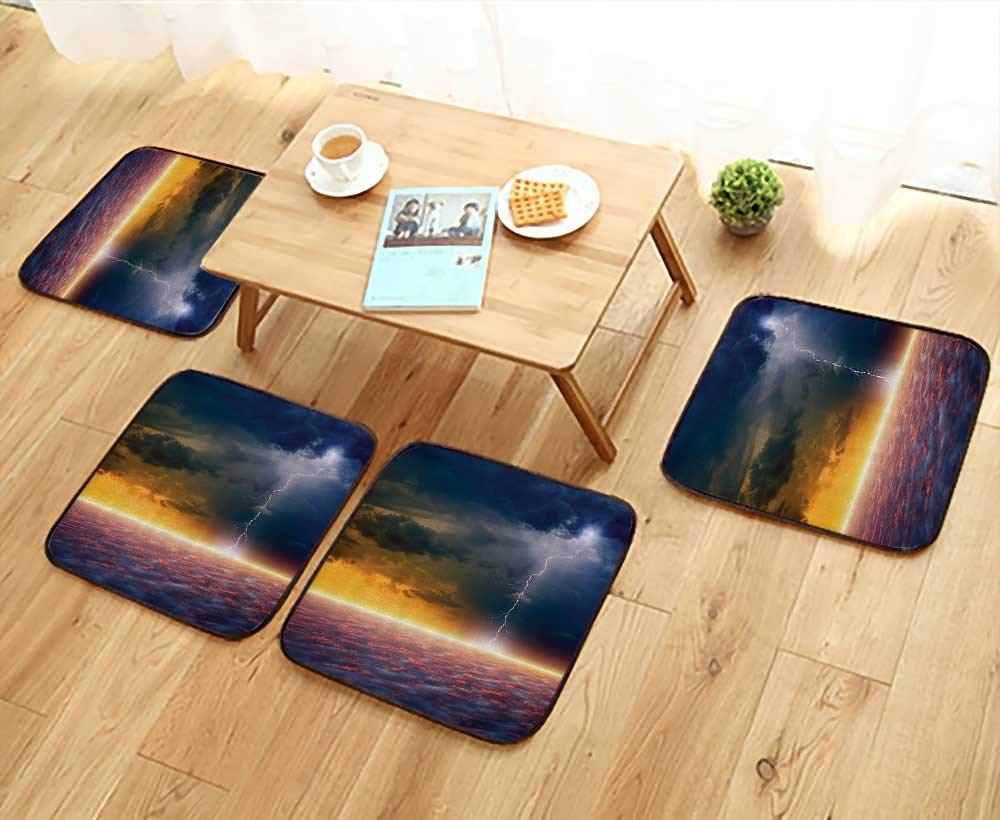 Printsonne Comfortable Chair Cushions Apocalyptic Sky End of The World Majestic Mystic Sky Solar Flames Reuse can be Cleaned W17.5 x L17.5/4PCS Set